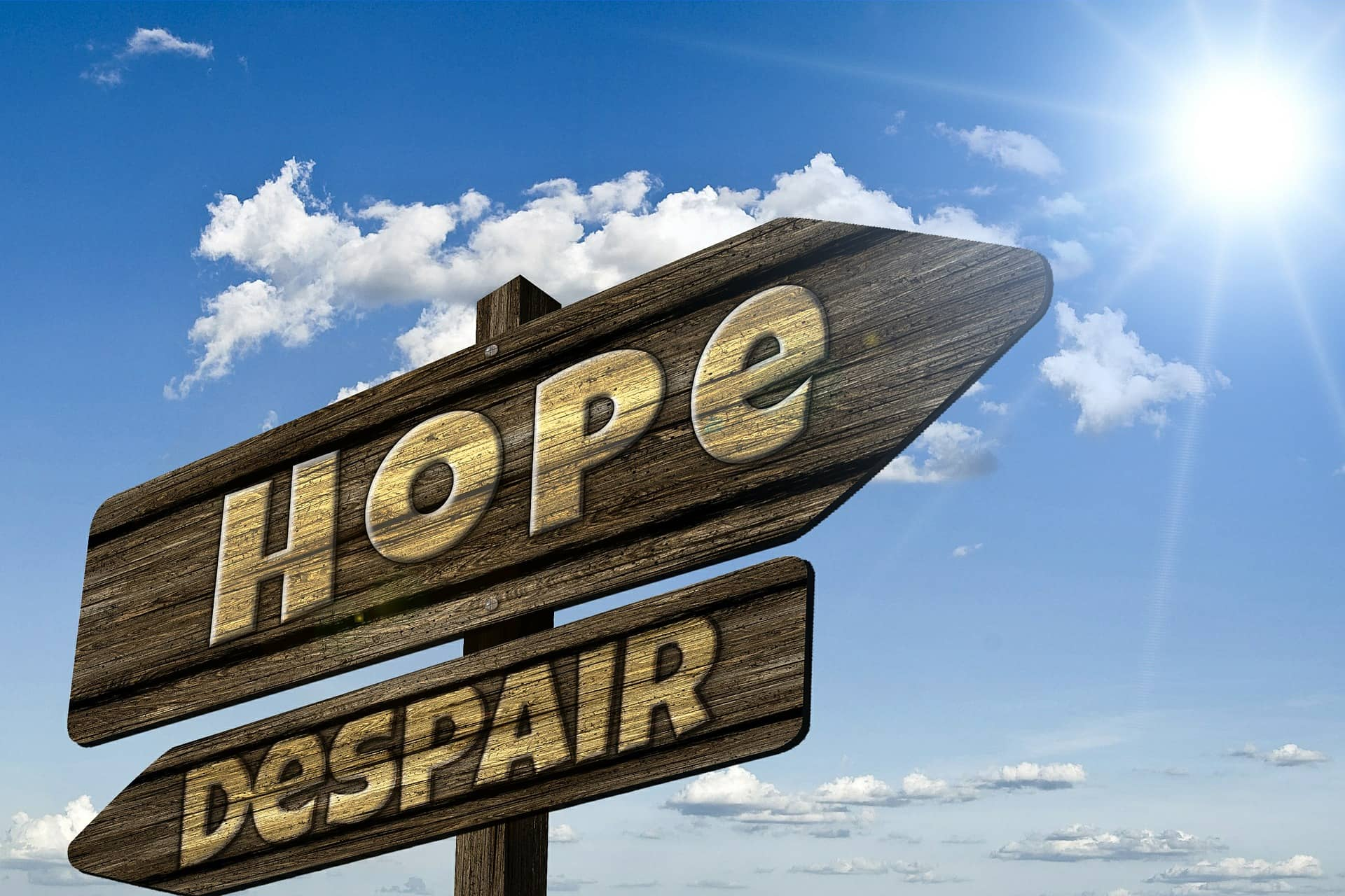 signposts reading hope and despair pointing in opposite directions