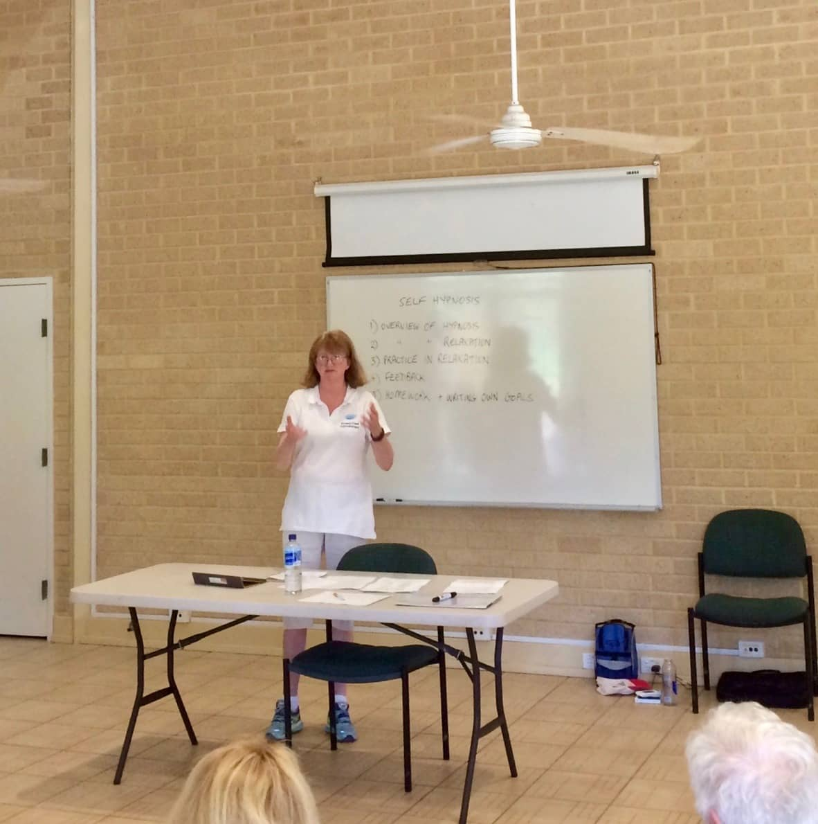 Lisa delivering course - standing at front of room speaking
